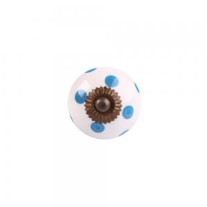 Puxador Decorativo Redondo Branco Azul Soft Ceramica e Metal