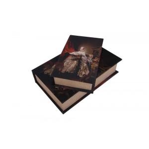 Conjunto de Caixas Livro em Madeira com Estampa Romantismo 2 Peças