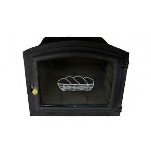 Forno Grande em Ferro Fundido c/ Porta em Vidro 50x46x33 cm