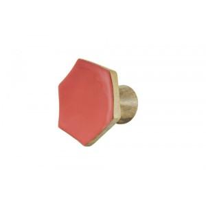 Cabide de Madeira Hexágono Vermelho A7,5xL8xP6 cm