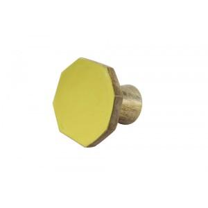 Cabide Octógono Liso Amarelo em  Madeira 7,5 x 8,5 x 6,5 cm