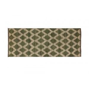 Tapete Passadeira Retangular Verde de Juta e Algodão 150x60 cm