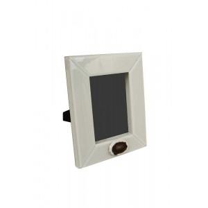 Porta Retrato Laca com Vidro Marfim 2,5X29X24Cm
