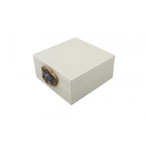 Caixa Decorativa em Madeira Revestida em Vidro Branco c/ Fecho em Pedra A7,5xC16,5xL16,5 cm