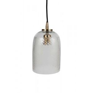 Pendente de Vidro Trabalhado com Metal Dourado Elétrico 15X15X26CM