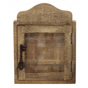 Porta Chaves em Madeira Rústica c/ Detalhe em Metal 30X8X40 cm