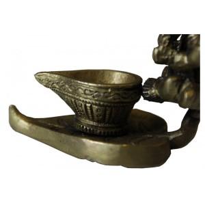 Estatua Ganesha Sentado Ornamentação Metal Bronze 6CM