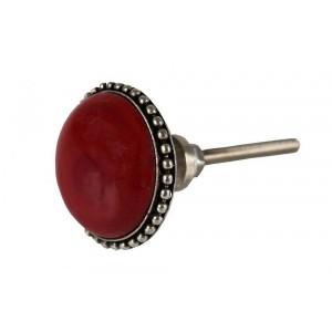 Puxador Decorativo Requinte Vermelho Cerâmica Detalhe Metal