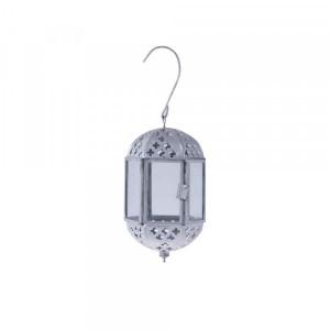 Lanterna de Metal Pendente Prata com Gancho 8X8X13CM