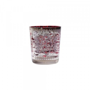 Cachepot de Vidro Metalizado Decorado Vermelho A7,5xD6cm