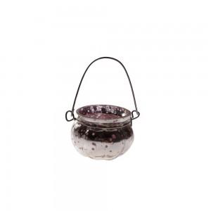 Cachepot p/ Vela em Vidro Metalizado Mellon Rosa com Alça A5x6,5 cm