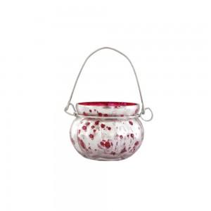 Cachepot p/ Vela em Vidro Metalizado Mellon Vermelho com Alça A5xD6,5 cm