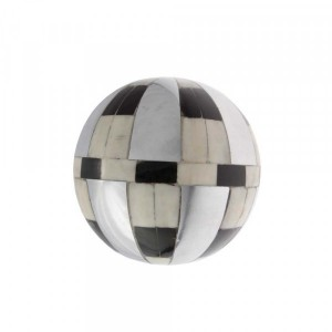 Bola Decorativa em Metal com Chifre e Resina Grande D14 cm