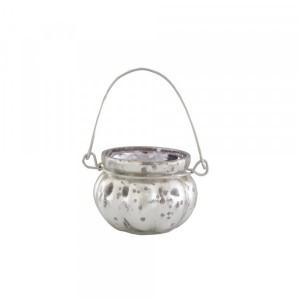 Cachepot p/ Vela em Vidro Metalizado Mellon Roxo com Alça A5xD6,5 cm