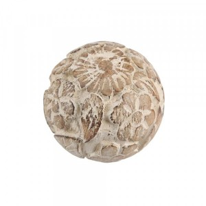 Bola Decorativa em Madeira Esculpida Bege D8 cm