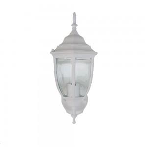 Arandela Elétrica Estilo Colonial Branca em Alumínio e Vidro A26xC10xL19 cm