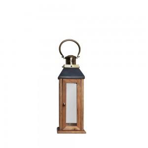 Lanterna de Madeira com Alça em Metal Dourado 18X53 cm