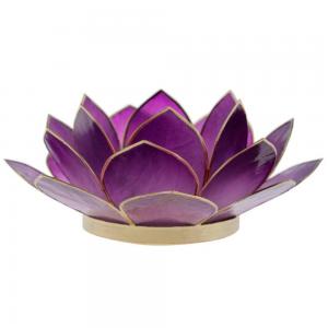 Suporte Flor Lotus p/ Vela Madrepérola Violeta 6X13X13CM
