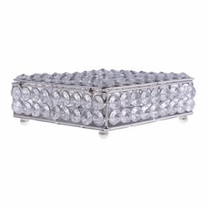 Caixa Decorativa em Metal e Pedrarias em Cristal c/ Pés A6xC16xL16 cm