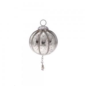 Bola para Árvore de Natal em Vidro Metalizado Pumpkin c/ Penduricalhos e Aljofre A12xD8 cm