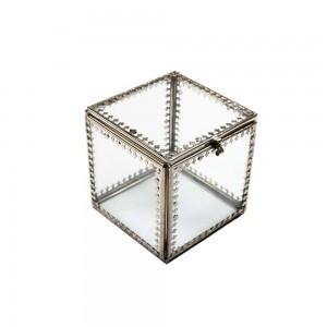Caixa em Vidro Incolor Quadrado com Acabamento de Metal Trabalhado A9,5xC8xL8 cm