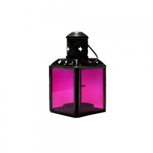 Lanterna de Metal e Vidro Rosa com Suporte para Velas 6X6X11 cm
