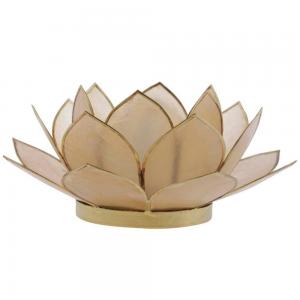 Suporte Flor Lotus p/ Vela Madrepérola Amarelo A5xD12 cm