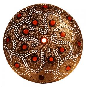 Arandela Redonda em Metal Trabalhado Dourado e Crajevado em Vidro Laranja L13xD56 cm