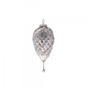 Enfeite Natalino p/ Pendurar Formato Pinha em Vidro Metalizado c/ Penduricalhos A21xD9 cm
