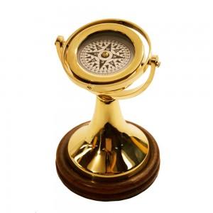 Bússola de Mesa Decorativa em Metal Dourado A20xD12 cm
