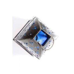 Lanterna de Metal e Vidro Azul 12X12X24 cm
