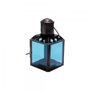 Lanterna de Metal e Vidro Azul Claro com Suporte para Velas 6X6X11 cm