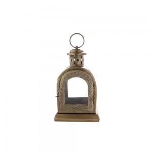 Lanterna em Metal Formato Capela Dourado Envelhecido 9X12X20 cm
