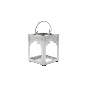 Lanterna de Metal Cromado Prata c/ Vidro – Pequena 9X9X10 cm