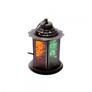 Lanterna de Metal com Vidro Verde e Laranja 13x9X9 cm