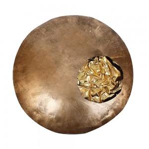 Mandala Decorativa p/ Parede em Metal Dourado c/ Detalhe Central D77xE12 cm