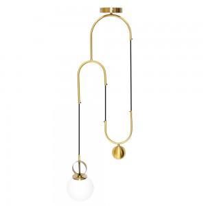 Pendente de Metal Cadre Curvo Dourado A38xD24 cm