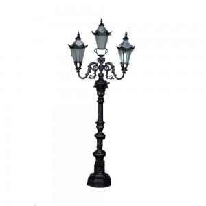 Poste Rústico de Ferro Preto Triplo p/ Iluminação de Jardim 313X125X47 cm