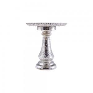 Prato de Vidro c/ Pedestal e Efeito Metálico Decorativo 19X19X21CM