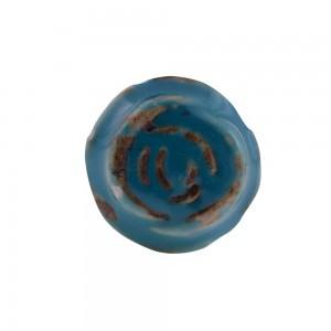 Puxador Antique Vintage Provençal Flor Azul em Cerâmica
