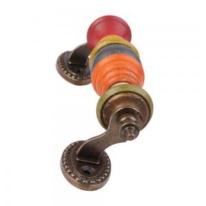 Puxador Madeira e Metal Decorado Colorido C17xL6 CM