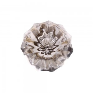 Puxador Luxuoso Formato Diamante em Vidro Lapidado 4x4x3 cm