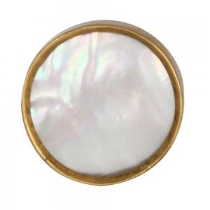Puxador Redondo Branco em Madrepérola e Metal Dourado D3,5xP2,5 cm