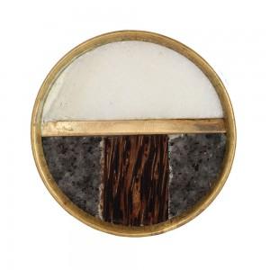 Puxador Redondo Mármore Branco/Cinza Madeira e Metal Dourado D3,5xP2,5 cm