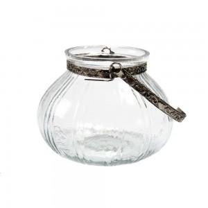 Cachepot em Vidro com Alças de Metal Prata Pequeno A7XD9 cm