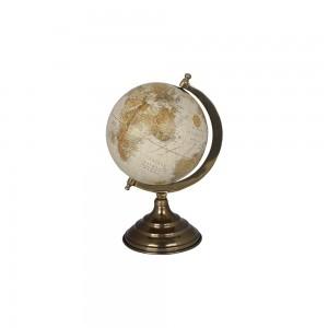Globo Terrestre Decorativo Bege em Metal cor Ouro Envelhecido A34xD24 cm