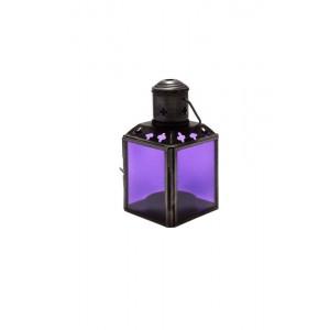 Lanterna de Metal e Vidro Lilás com Suporte para Velas 6X6X11 cm