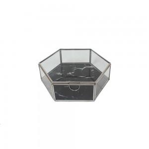 Caixa em Vidro Hexagonal c/ Base Efeito Mármore Preto e Acabamento em Alumínio A6xC20,5xL18 cm