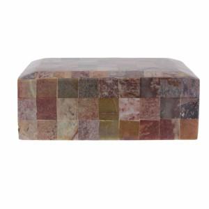 Caixa Decorativa em  Madeira c/ Pedras A8xC22xL17 cm