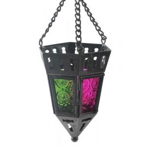 Pendente de Ferro com Vidro Pink e Verde A13xD8CM